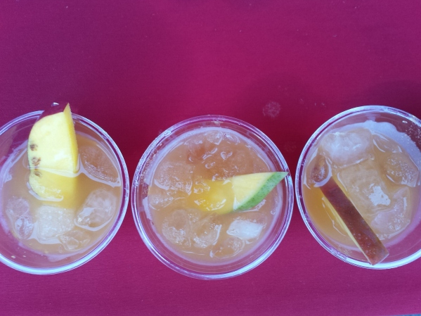 Amaretto Sours with a Mango and Sriracha twist