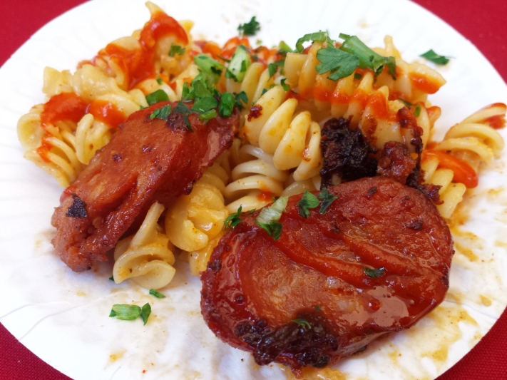 Crawfish mac 'n cheese with house smoked Andouille sausage by Little Jewel of New Orleans