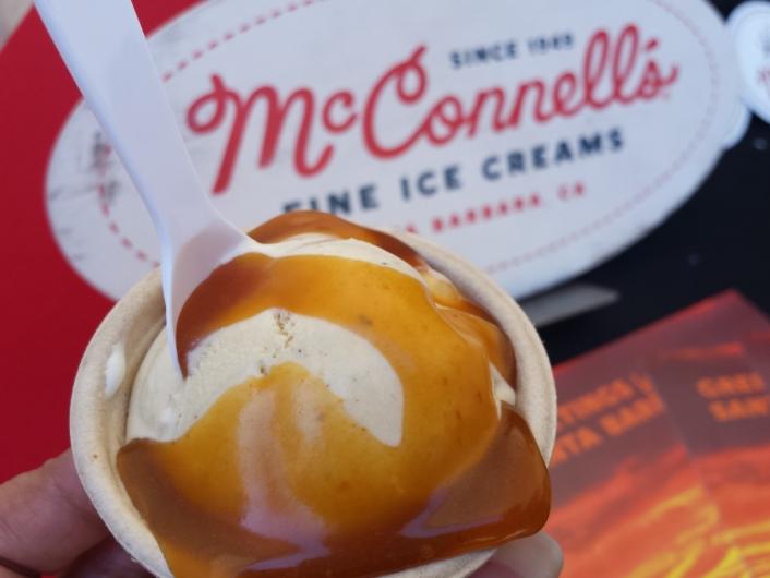 Pumpkin pie ice cream topped with sriracha caramel