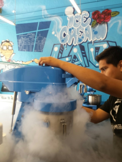 Behind the counter liquid nitrogen action