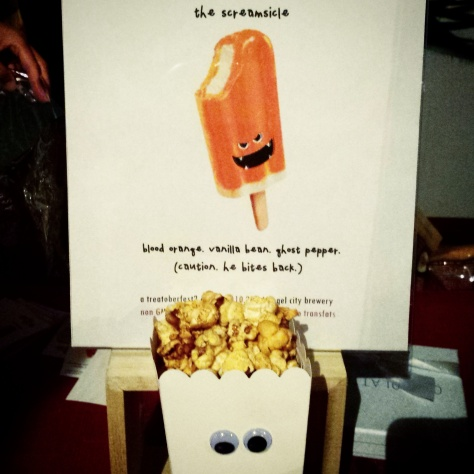 The Screamsicle gourmet popcorn flavor from Popsalot. Complete with googly eyes!