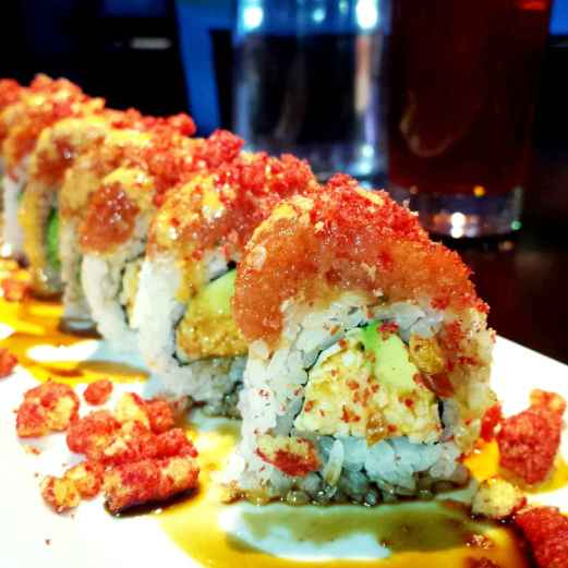 Tanayas Table Red Eye Fish Hot Cheetos Sushi Roll