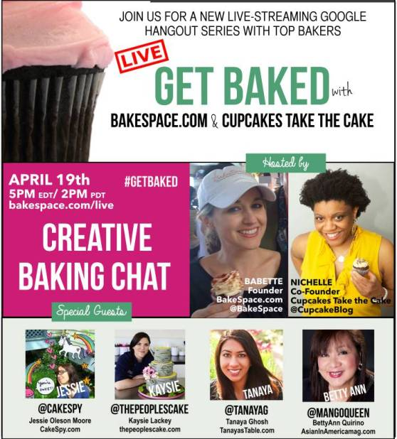 Join me on the Bakespace #GetBaked live chat this Sunday at 2pm PST!